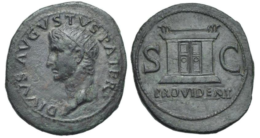 Ancient Coins - Augustus AE Dupondius Altar # AK 0139