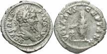 Ancient Coins - Septimius Severus, 193 - 211 AD, Silver Denarius, Emperor Sacrificing