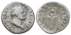 Ancient Coins - Vespasian, 69 - 79 AD, Silver Denarius, Winged Caduceus