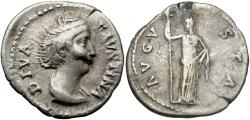 Ancient Coins - Diva Faustina Sr., 147 AD, Silver Denarius, Ceres