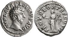 Ancient Coins - Lucius Verus, 161 - 169 AD, Silver Denarius, Providentia