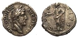 Ancient Coins - Antoninus Pius, 138 - 161 AD, Silver Denarius, Concordia