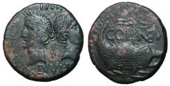Ancient Coins - Augustus with Agrippa, 10 BC - 10 AD, AE As of Nemausus, Crocodile