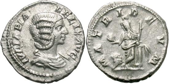 Ancient Coins - Julia Domna, Under Caracalla, 198 - 217 AD, Silver Denarius, Cybele