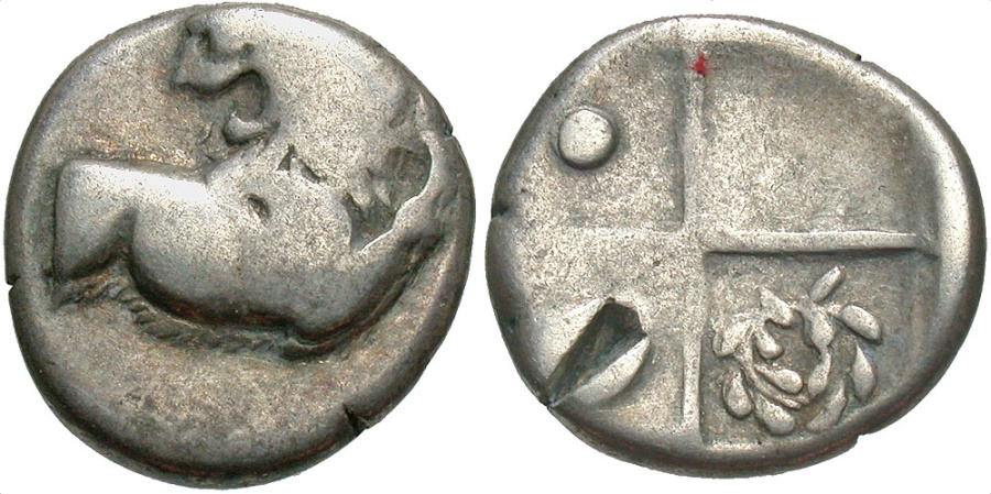 Ancient Coins - Thrace, Black Sea, Cherronesos, 400 - 350 BC, Silver Hemidrachm, Lion, Wreath