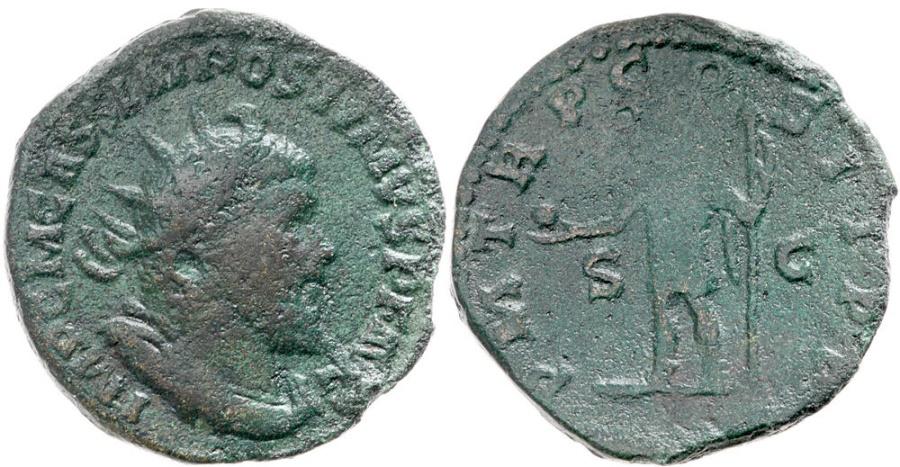 Ancient Coins - Postumus, 260 - 269 AD, Double Sestertius, Emperor Standing