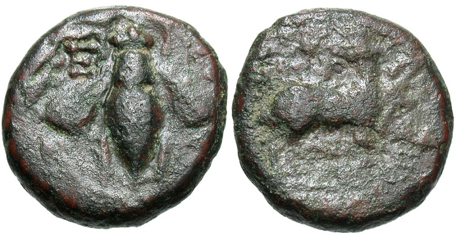 Ancient Coins - Ionia, Ephesos, 390 - 320 BC, AE12, Bee and Stag