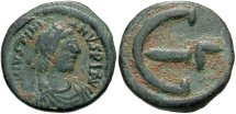 Ancient Coins - Justinian I, 527 - 565 AD, AE Pentanummium, Constantinople Mint, Officina G