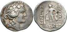 Ancient Coins - Islands off Thrace, Thasos, 168 - 148 BC, Silver Tetradrachm, Dionysos & Herakles
