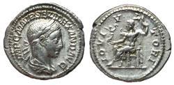 Ancient Coins - Severus Alexander, 222 - 235 AD, Silver Denarius, Jupiter, Choice EF