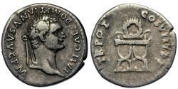 Ancient Coins - Domitian, 81 - 96 AD, Silver Denarius, Chair & Wreath