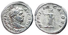 Ancient Coins - Caracalla, 198 - 217 AD, Silver Denarius, Mars