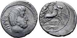 Ancient Coins - Roman Republic, L. Titurius L.f. Sabinus, 89 BC, Silver Denarius
