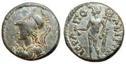Ancient Coins - Phrygia, Hieropolis, AE Assarion, Roma-Athena & Hermes