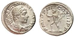 Ancient Coins - Elagabalus, 218 - 222 AD, Silver Denarius, Sol