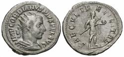 Ancient Coins - Gordian III, 238 - 244 AD, Silver Antoninianus, Emperor with Globe & Spear