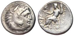 Ancient Coins - Kings of Thrace, Lysimachos, 305 - 281 BC, Silver Drachm, Kolophon Mint