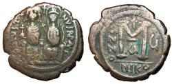 Ancient Coins - Justin II with Sophia, 565 - 578 AD, Follis of Nicomedia