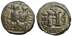 Ancient Coins - Justin II with Sophia, 565 - 578 AD, 28mm Follis of Nicomedia