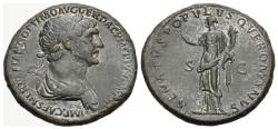 Ancient Coins - Trajan, 98 - 117 AD, Sestertius with Felicitas
