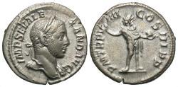 Ancient Coins - Severus Alexander, 222 - 235 AD, Silver Denarius, Sol