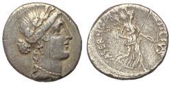 Ancient Coins - Imperatorial Period, L. Hostilius Saserna, 48 BC, Silver Denarius