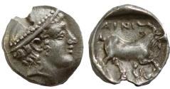 Ancient Coins - Thrace, Ainos, 408 - 406 BC, Silver Diobol