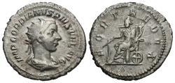 Ancient Coins - Gordian III, 238 - 244 AD, Silver Antoninianus, Fortuna Seated
