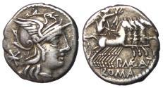 Ancient Coins - P. Maeius Antiacus M.f., 132 BC, Silver Denarius
