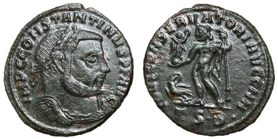 Ancient Coins - Constantine I, 307 - 337 AD, Follis of Thessalonica with Jupiter