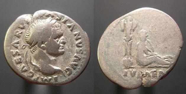 Ancient Coins - Vespasian Denarius, Jewish Captive