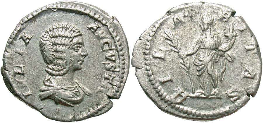 Ancient Coins - Julia Domna, under Septimius Severus, 193 - 211 AD, Silver Denarius, Hilaritas