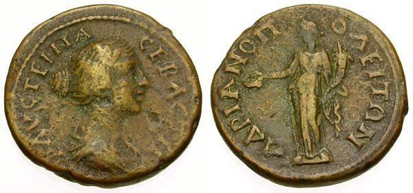 Ancient Coins - Faustina Jr., 161 - 180 AD, Æ18, Thrace, Hadrianopolis, Hommonia