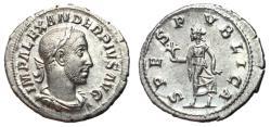 Ancient Coins - Severus Alexander, 222 - 235 AD, Silver Denarius, Spes, Choice EF