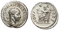 Ancient Coins - Severus Alexander, 222 - 235 AD, Silver Denarius, Jupiter, Choice XF