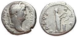 Ancient Coins - Hadrian, 117 - 138 AD, Silver Denarius with Salus