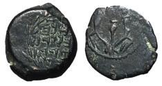 Ancient Coins - Judaea, Alexander Jannaeus, 103 - 76 BC, AE Lepton, Jerusalem Mint