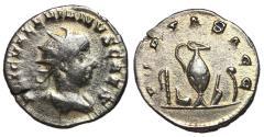 Ancient Coins - Valerian II, 256 - 258 AD, Silver Antoninianus of Viminacium, Sacrificial Implements