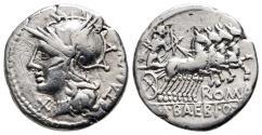 Ancient Coins - Baebius Tampilius, 137 BC, Silver Denarius