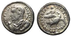 Ancient Coins - Licinius I, 308 - 324 AD, Billon Argenteus of Treveri, Jupiter on back of Eagle, Rare