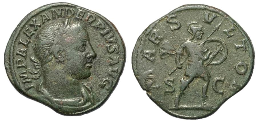 Ancient Coins - Severus Alexander, 222 - 235 AD, Sestertius with Mars
