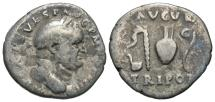 Ancient Coins - Vespasian, 69 - 79 AD, Silver Denarius, Sacrificial Implements