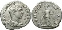 Ancient Coins - Geta, as Caesar, 198 - 209 AD, Silver Denarius, Minerva