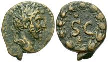 Ancient Coins - Marcus Aurelius, 161 - 180 AD, AE Semis, Antioch Mint, Rare