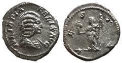 Ancient Coins - Julia Domna, 211 - 215 AD, Silver Denarius, Vesta, EF