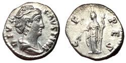 Ancient Coins - Faustina Sr, 146 - 161 AD, Silver Denarius, Ceres