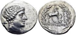 Ancient Coins - Aeolis, Kyme, Metrophanes, Magistrate, 165 - 140 BC, Silver Tetradrachm
