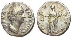 Ancient Coins - Diva Faustina Sr., 146 - 161 AD, Silver Denarius with Vesta