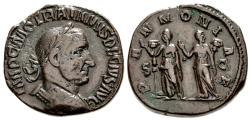 Ancient Coins - Trajan Decius, 249 - 251 AD, Sestertius with the Two Pannoniae