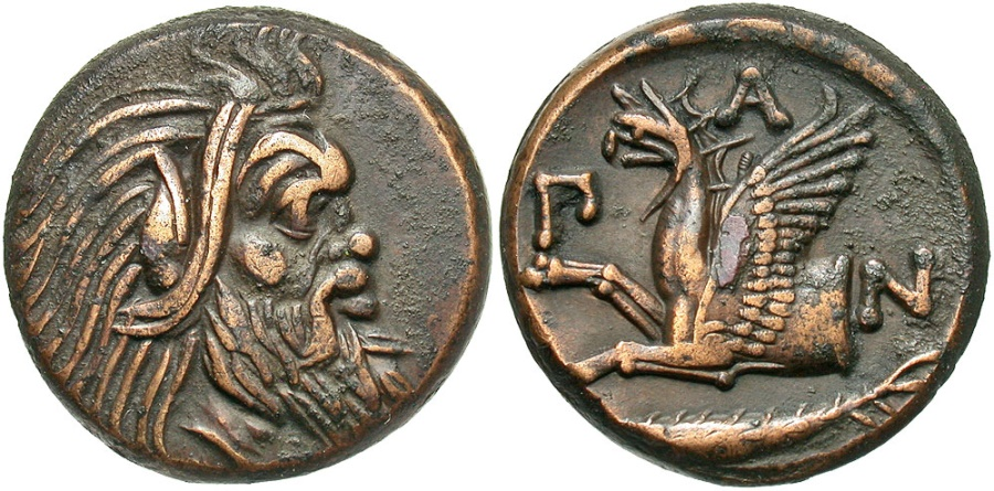 Ancient Coins - Cimmerian Bosporos, Pantikapaion, 310 - 303 BC, AE20, Magnificent Example